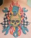 Hot Rod Themed Back Tat tattoo