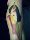 asian women/cocketiel tattoo